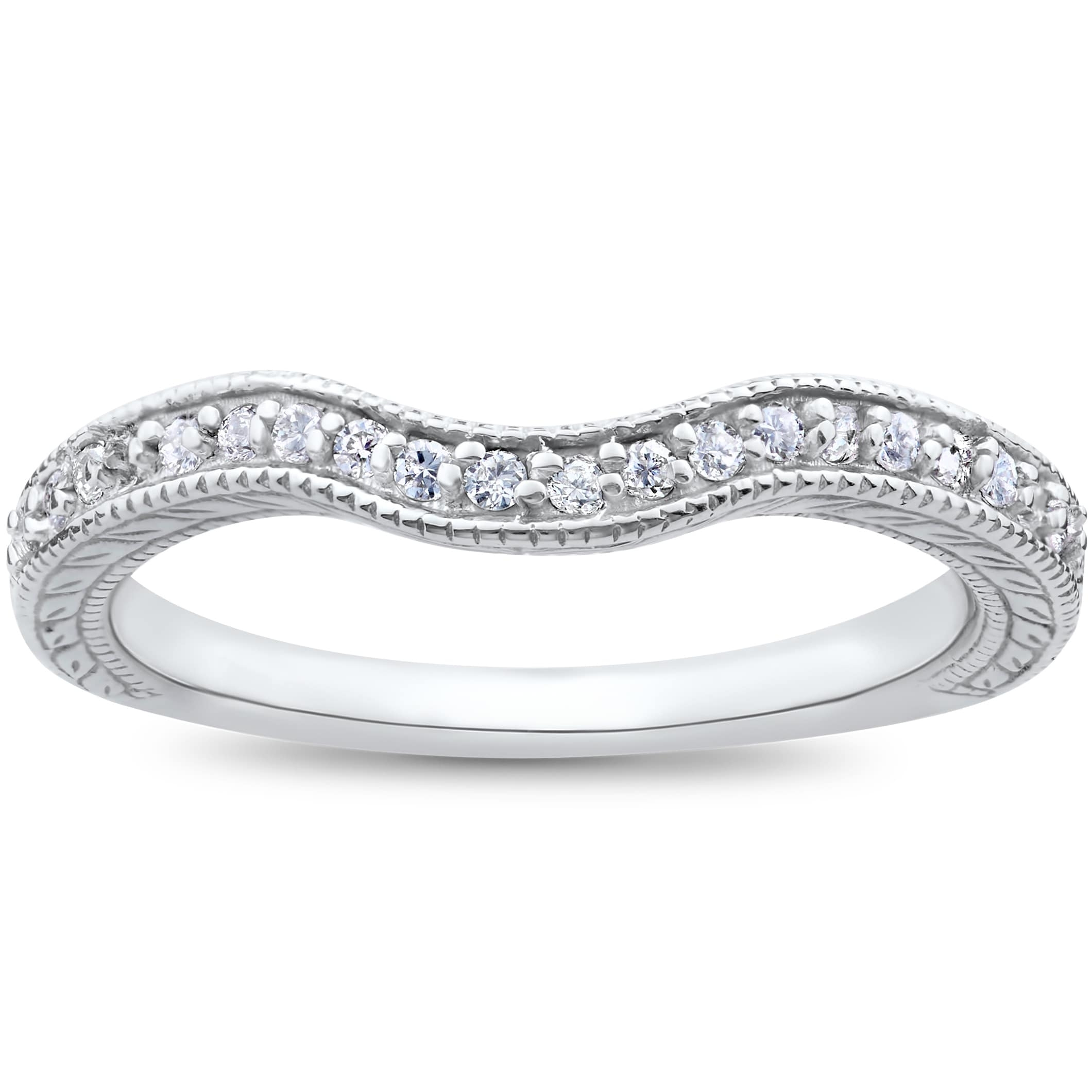 Shop 14K White Gold 1/6Ct Vintage Curved Diamond Contour Wedding With Most Popular Diamond Contour Wedding Bands In 14K White Gold (View 15 of 15)