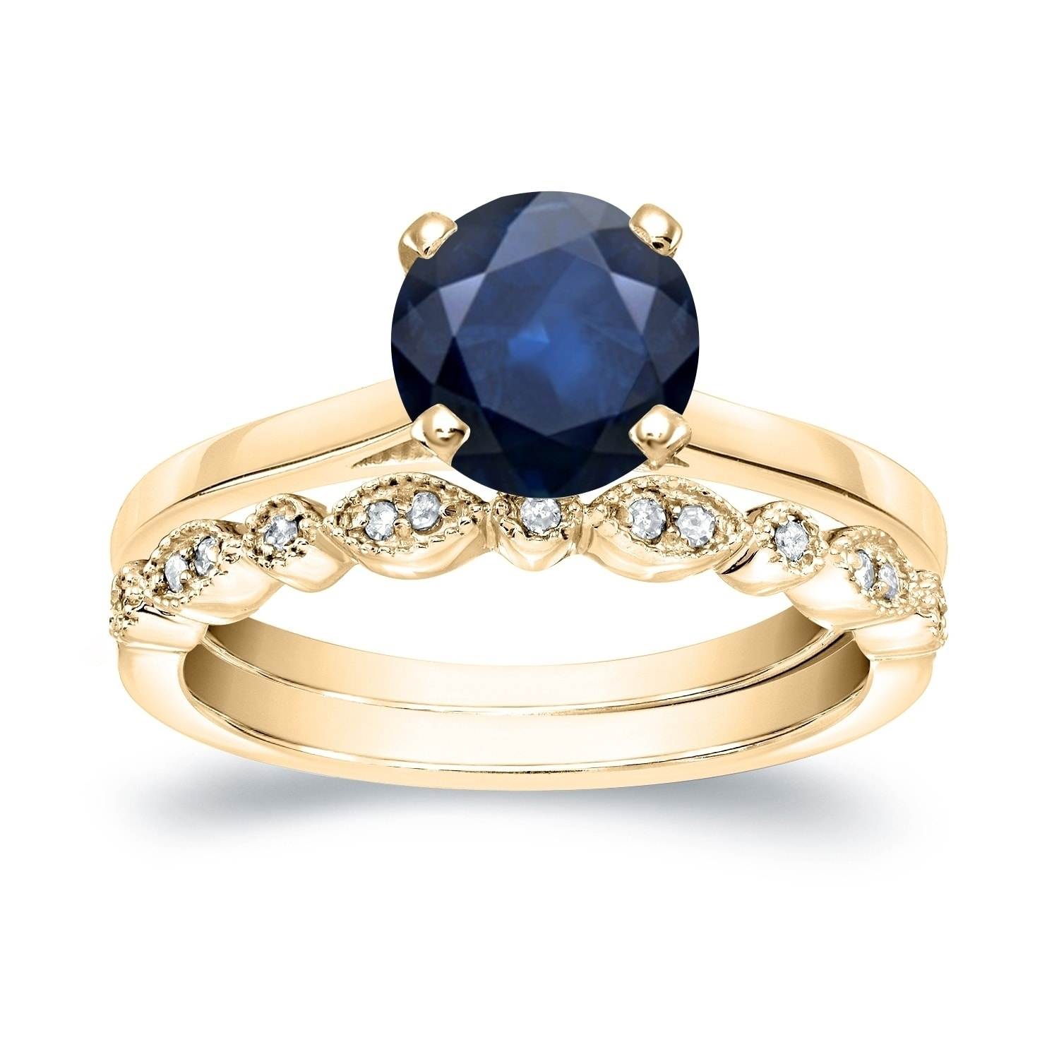 Shop Auriya 14K Gold Stackable Vintage 1Ct Blue Sapphire Solitaire Throughout Most Current Vintage Style Yellow Gold Engagement Rings (View 10 of 15)