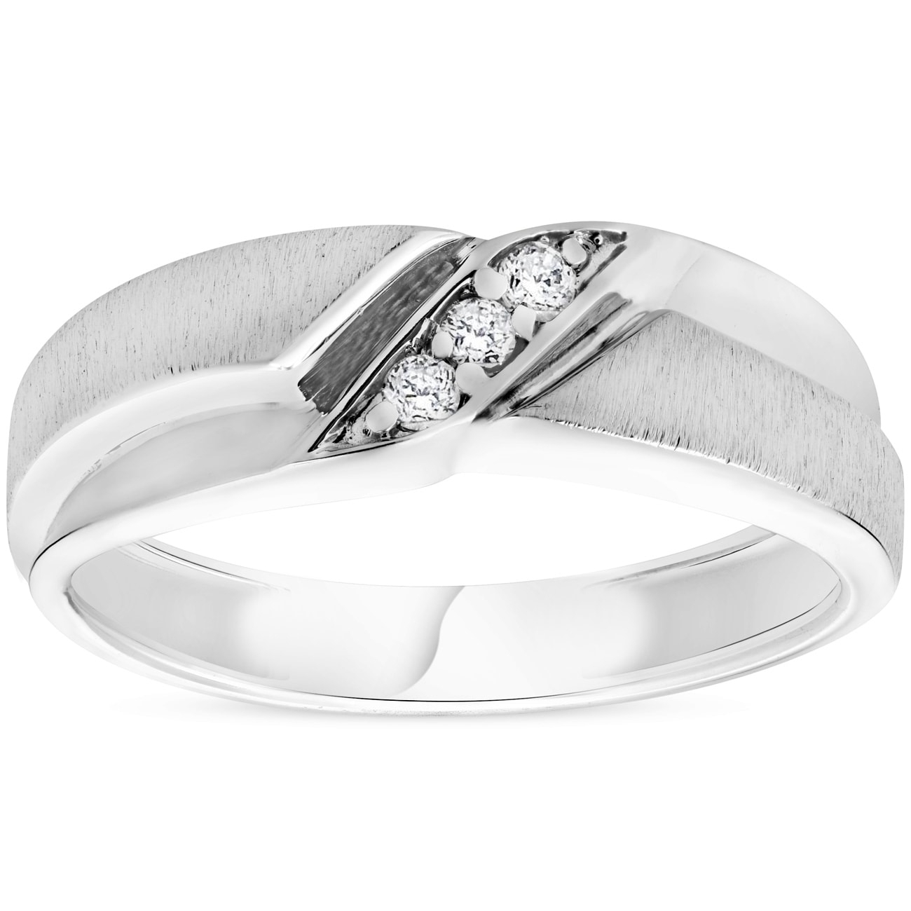 Shop Bliss 10K White Gold 1/10 Ct Tdw Diamond Three Stone Mens Ring Regarding Recent Diamond Three Stone Slant Wedding Bands In 10K White Gold (Gallery 1 of 15)