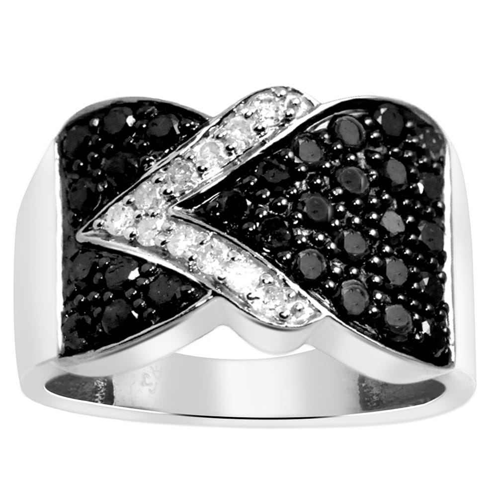 Shop Jewelonfire Sterling Silver 1Ct Tdw Black And White Diamond Throughout Most Current Diamond Twist Rings In Sterling Silver (View 11 of 15)