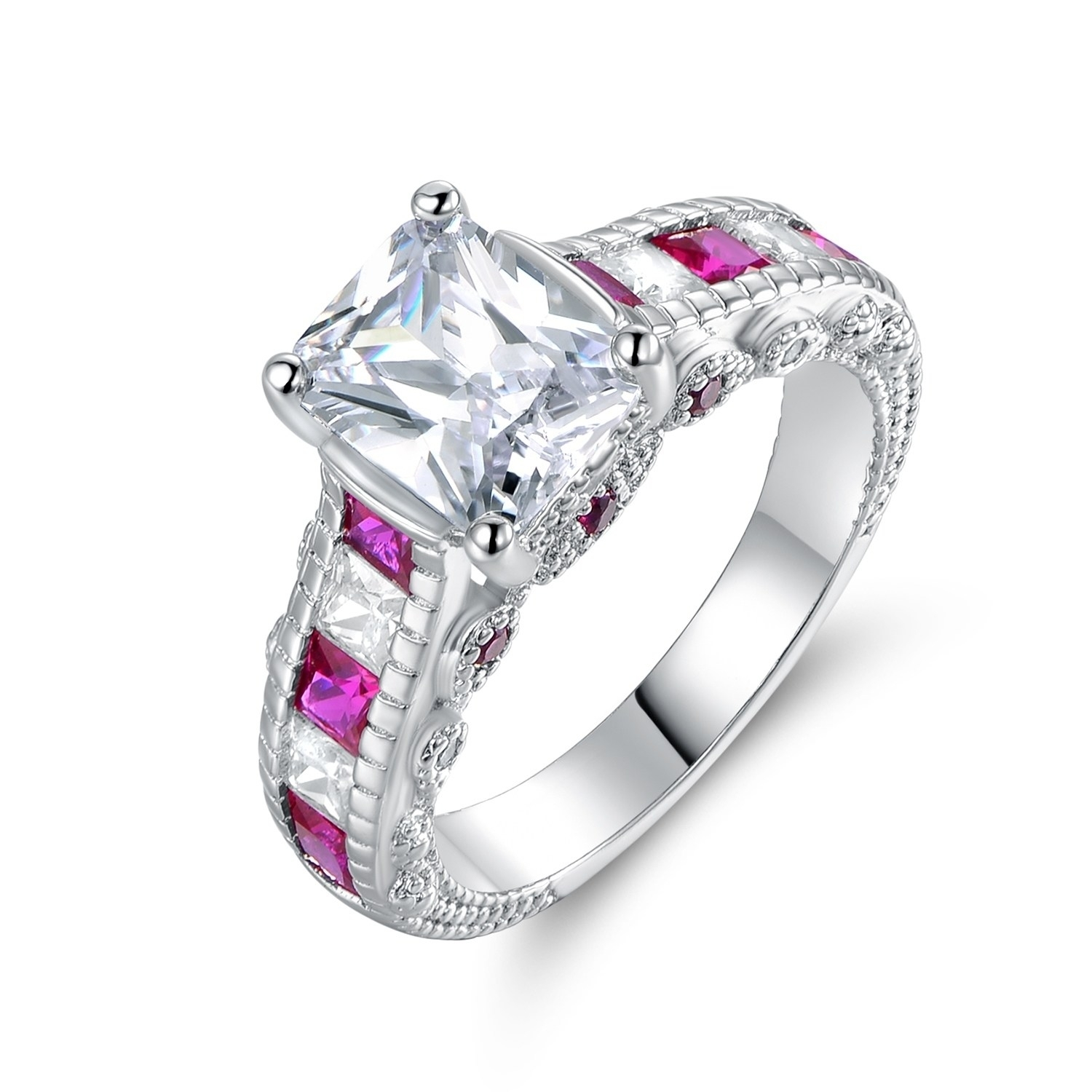 Shop Lab Created Pink Quartz & Cubic Zirconia Princess Cut Ring In Most Recently Released Lab Created Ruby Five Stone Anniversary Bands (View 8 of 15)