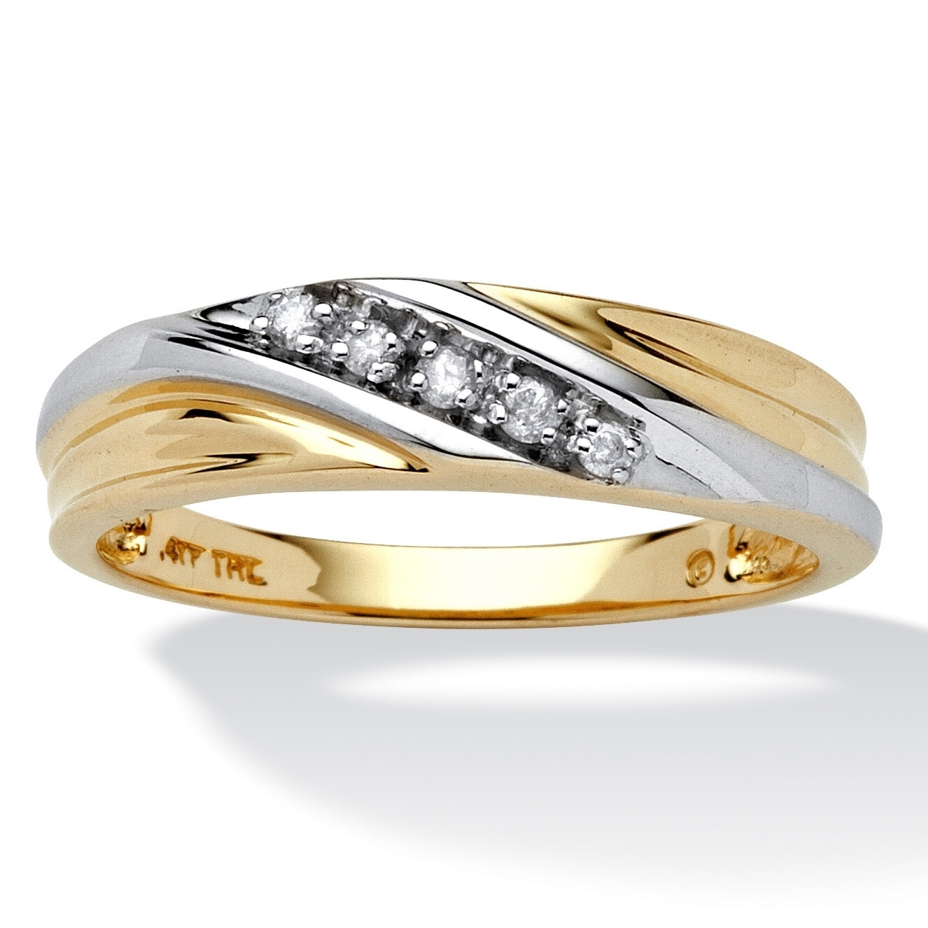 Shop Men's 10K Two Tone Gold 1/10 Tcw Round Diamond Diagonal Wedding Regarding Current Diamond Seven Stone Wedding Bands In 10K Two Tone Gold (View 14 of 15)
