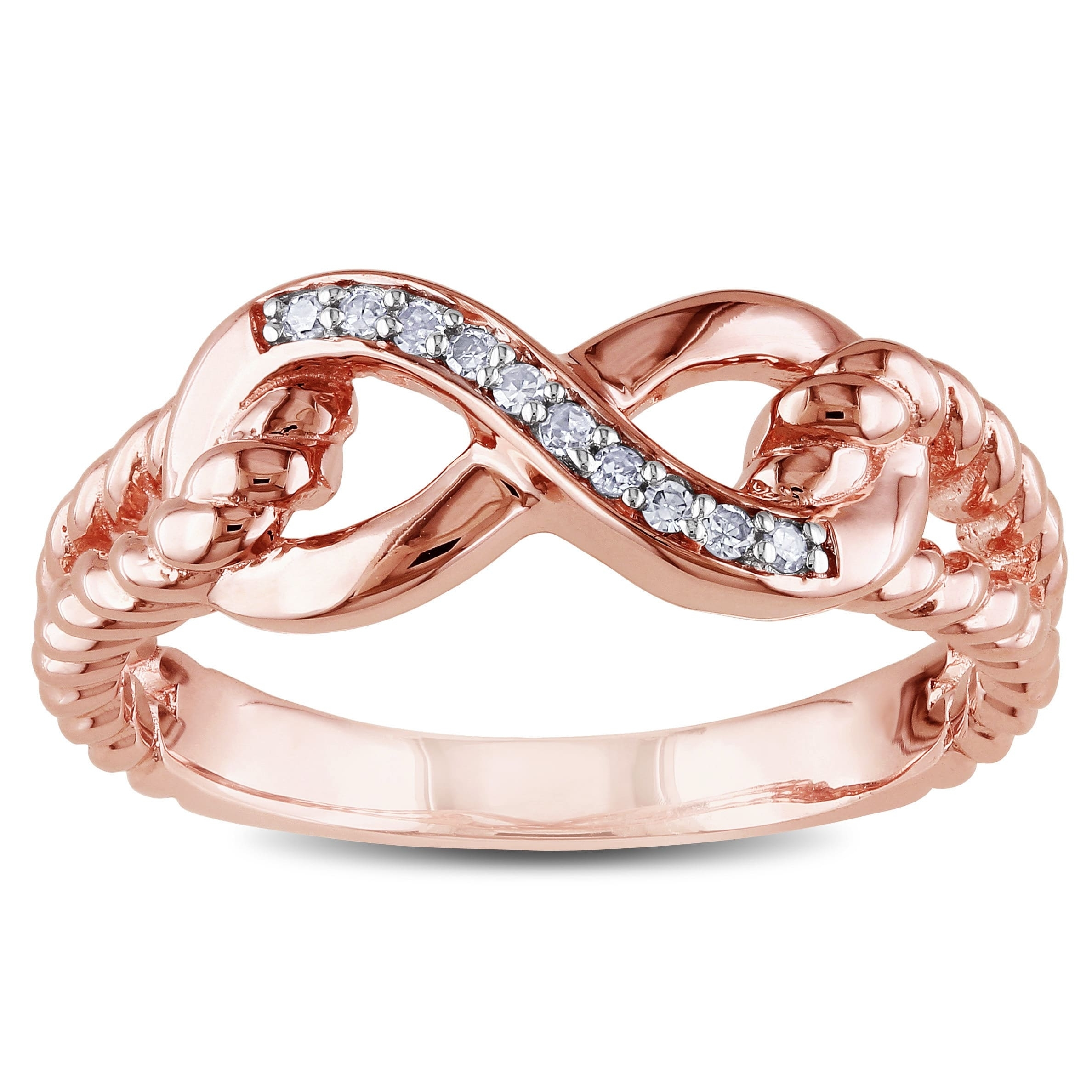 Shop Miadora 10K Rose Gold Diamond Accent Infinity Rope Ring – Free With Regard To Most Up To Date Diamond Accent Milgrain Anniversary Bands In 10K Rose Gold (View 9 of 15)