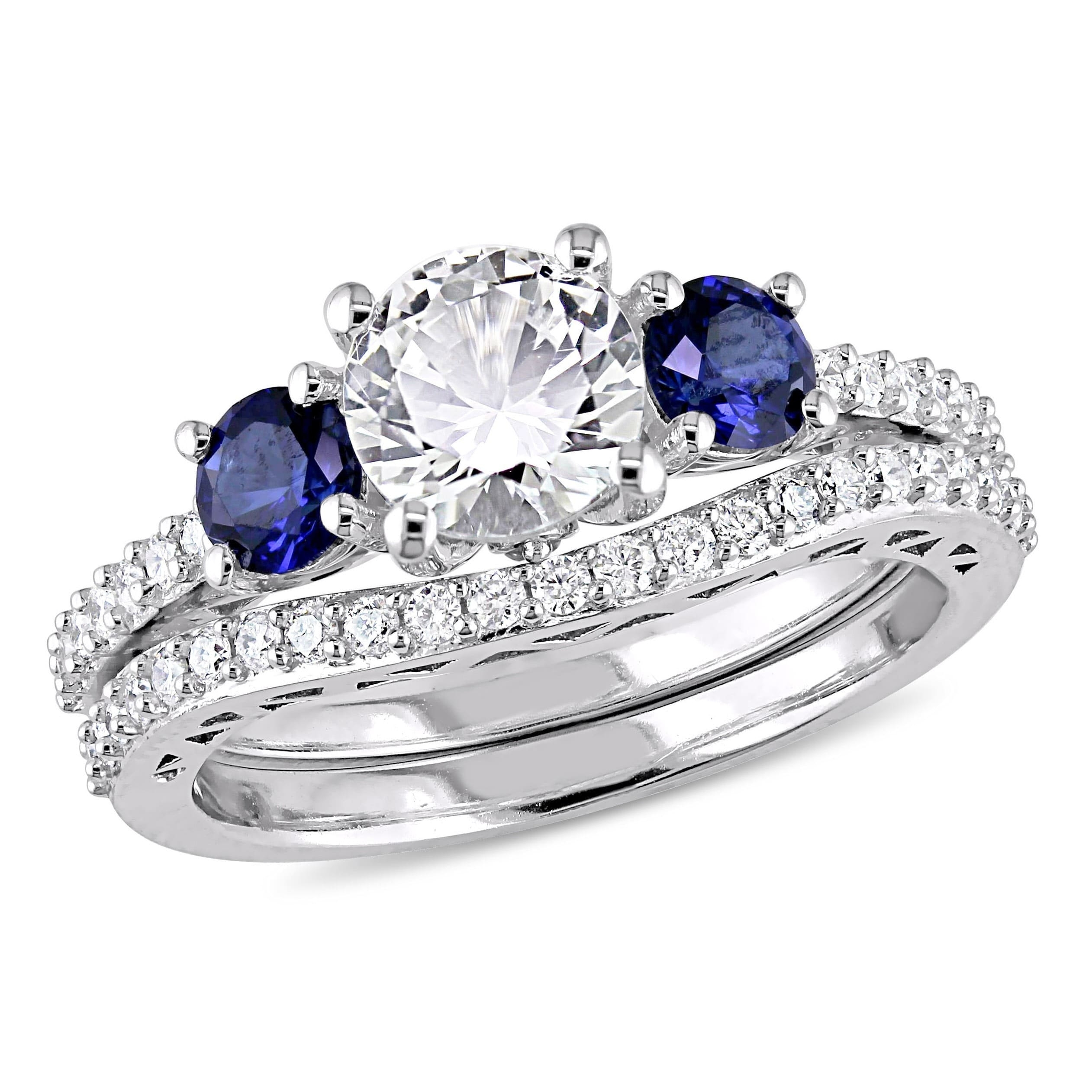 Featured Photo of Lab Created Blue Sapphire Five Stone Anniversary Bands In 10K White Gold