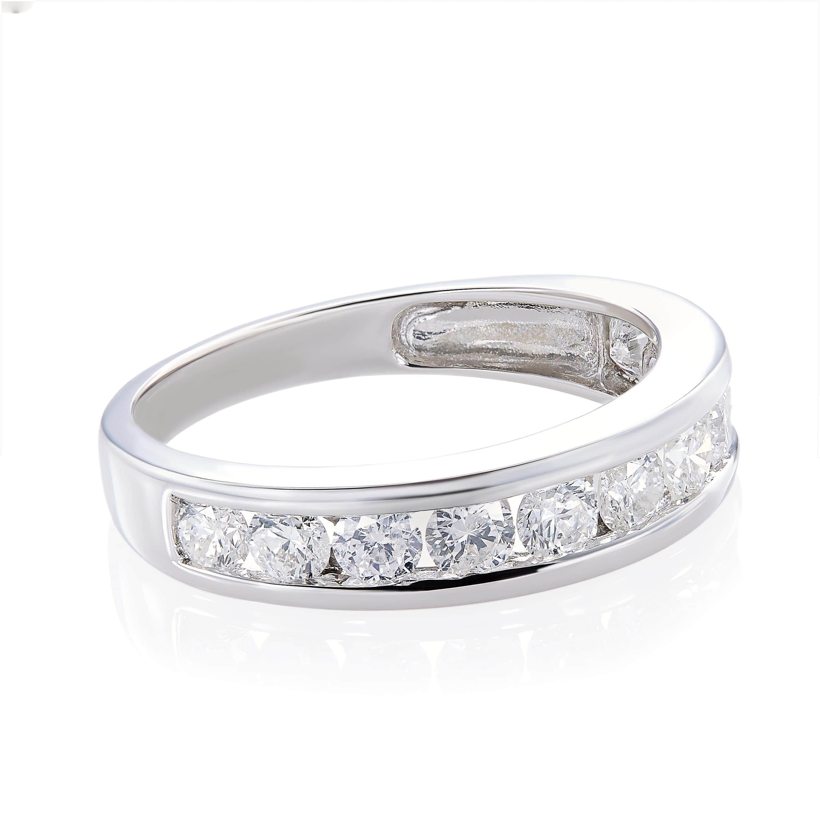Shop Miadora 14k White Gold Diamond Semi Eternity Wedding Band – On Throughout Current Diamond Eternity Wedding Bands In 14k White Gold (View 5 of 15)
