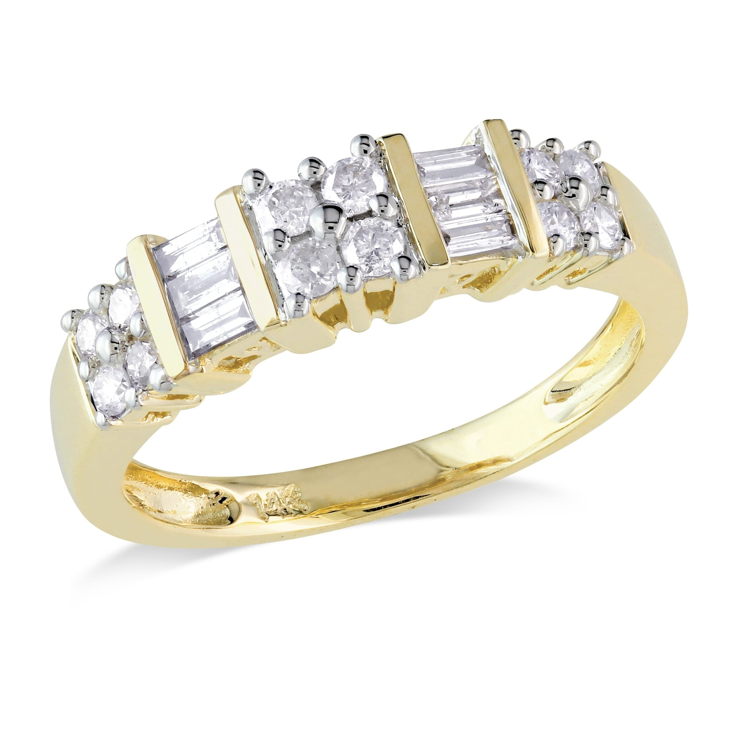 Shop Miadora 14K Yellow Gold 1/2Ct Tdw Baguette Diamond Anniversary Pertaining To 2017 Round And Baguette Diamond Anniversary Bands In 14K White Gold (View 13 of 15)