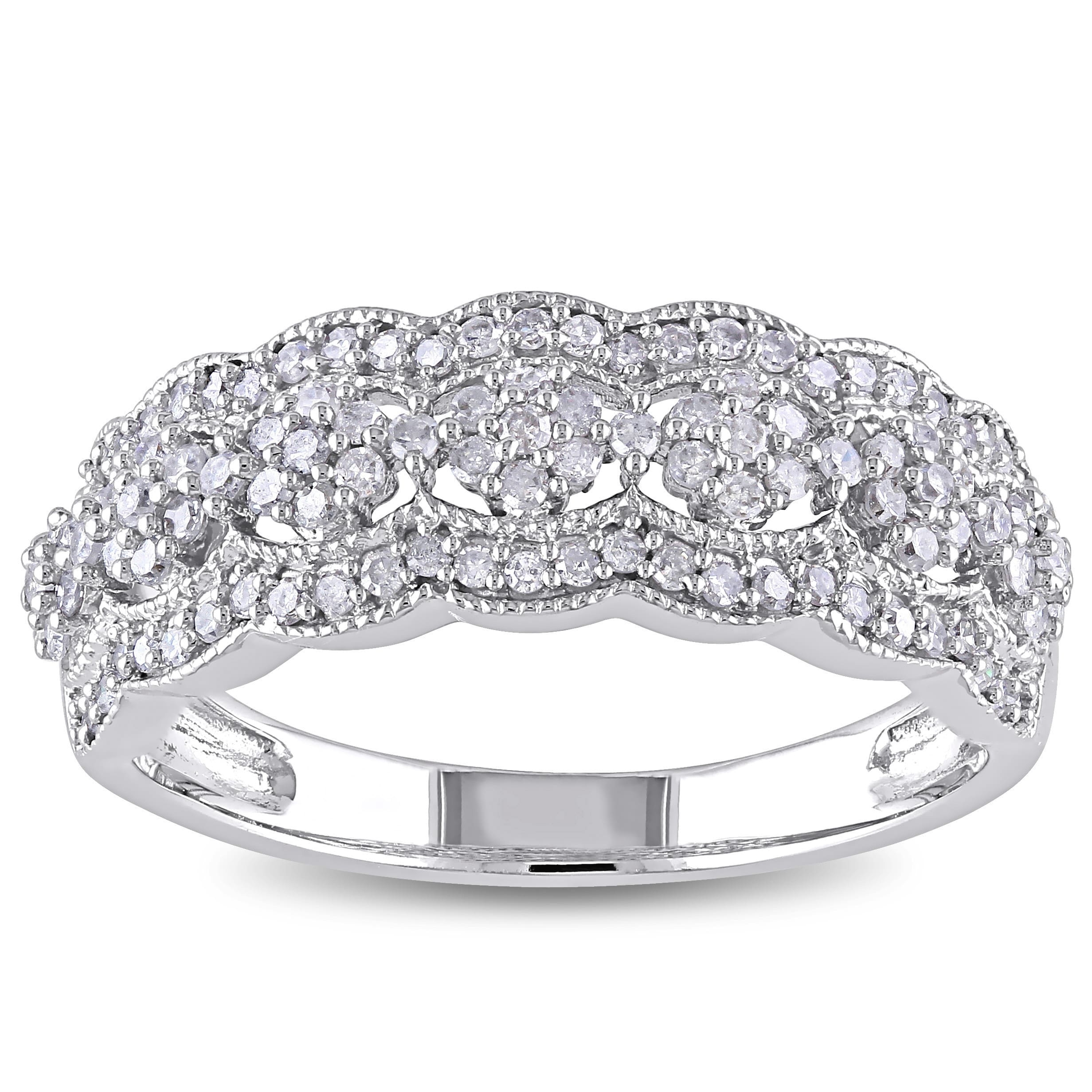 Shop Miadora Signature 10K White Gold 1/2Ct Tdw Diamond Vintage For Newest Diamond And Milgrain Anniversary Bands In 10K White Gold (Gallery 7 of 15)