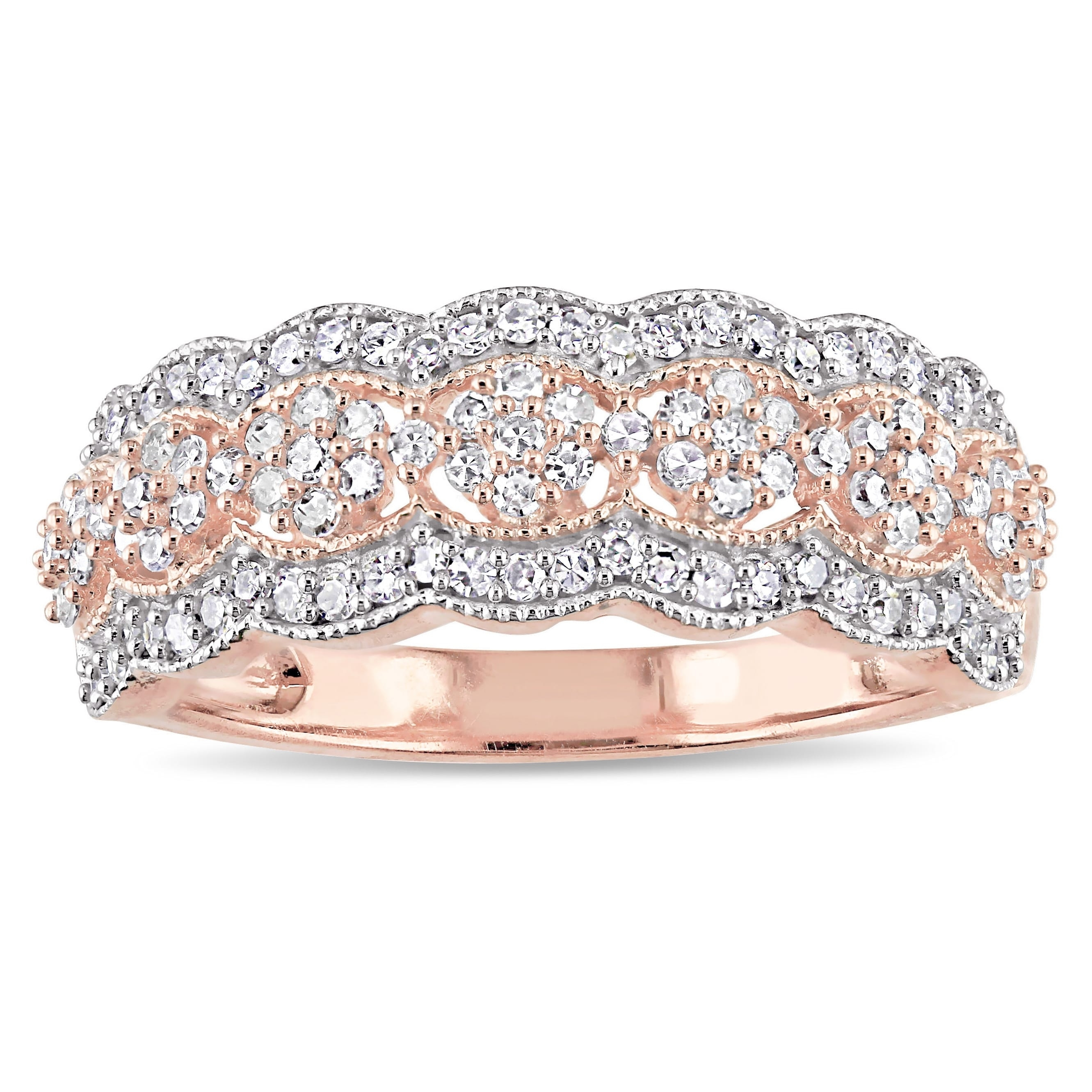 Featured Photo of Diamond Accent Milgrain Anniversary Bands In 10K Rose Gold