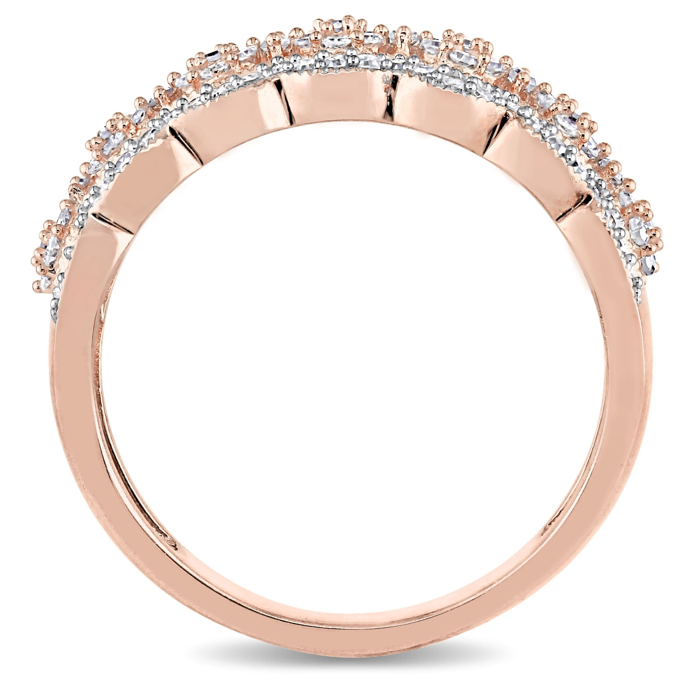 Shop Miadora Signature Collection 10K Rose Gold 1/2Ct Tdw Diamond Pertaining To Most Up To Date Diamond Accent Milgrain Anniversary Bands In 10K Rose Gold (View 13 of 15)