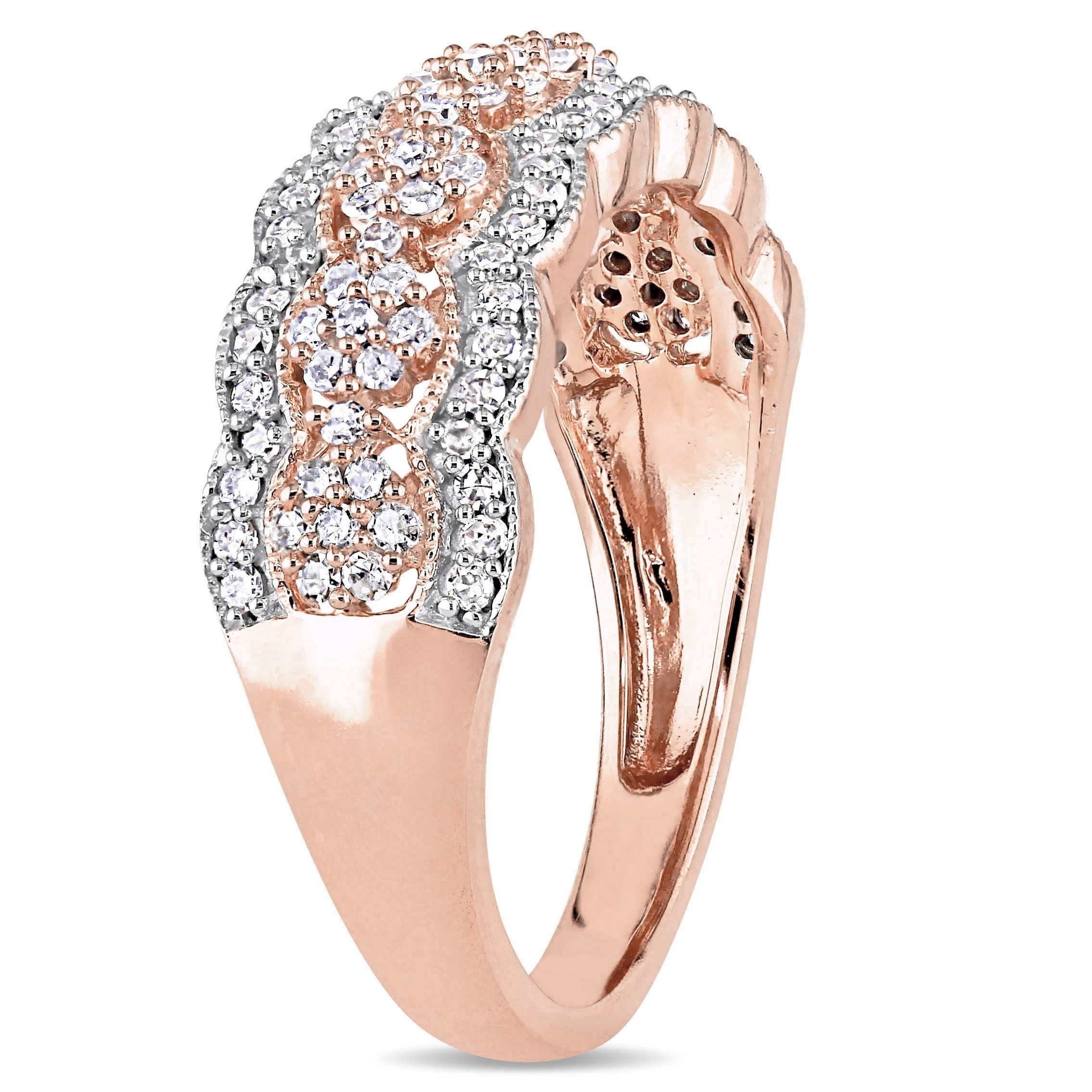Shop Miadora Signature Collection 10K Rose Gold 1/2Ct Tdw Diamond Within Most Popular Diamond Accent Milgrain Anniversary Bands In 10K Rose Gold (View 14 of 15)