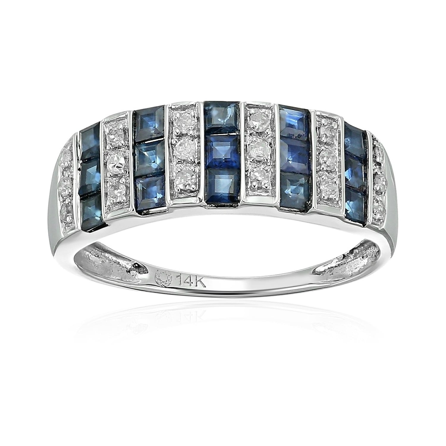 Shop Pinctore 14K White Gold Blue Sapphire And Diamond Wedding Band Inside Newest Blue Sapphire And Diamond Seven Stone Wedding Bands In 14K Gold (View 12 of 15)