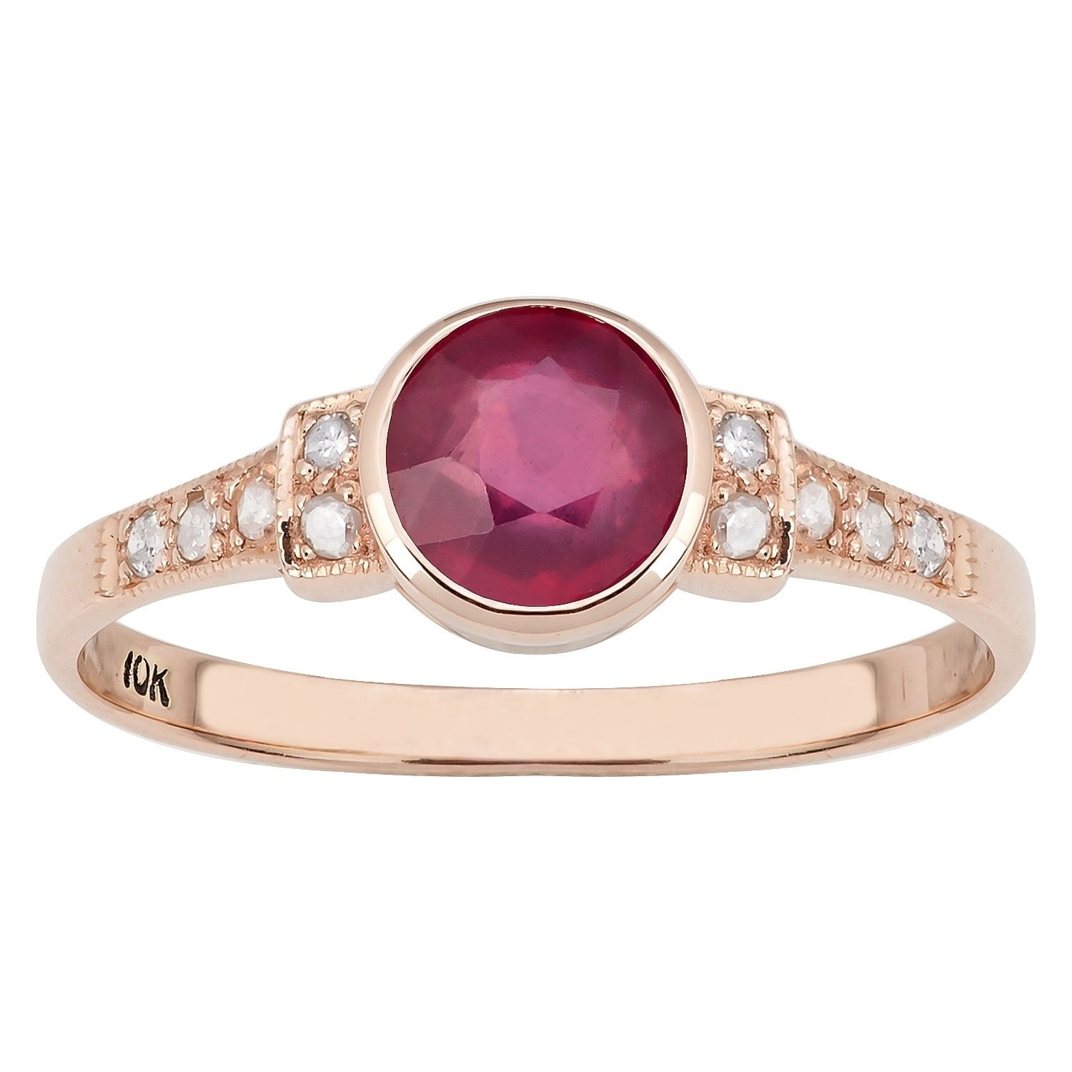 Shop Viducci 10K Rose Gold Vintage Style Genuine Ruby And Diamond Inside Most Recent Vintage Style Ruby And Diamond Rings (View 13 of 15)