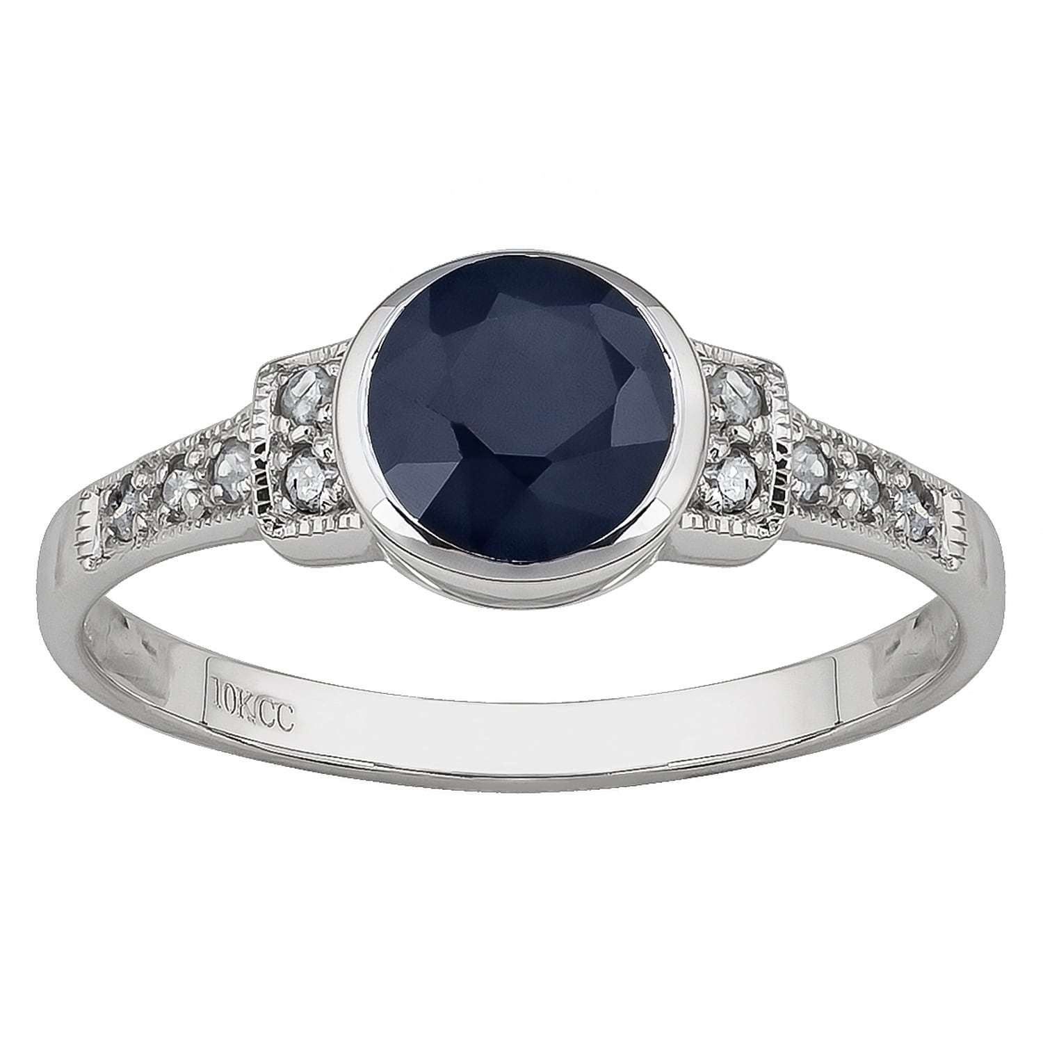 Shop Viducci 10K White Gold Vintage Style Genuine Sapphire And Pertaining To 2018 Vintage Style Sapphire Engagement Rings (View 6 of 15)