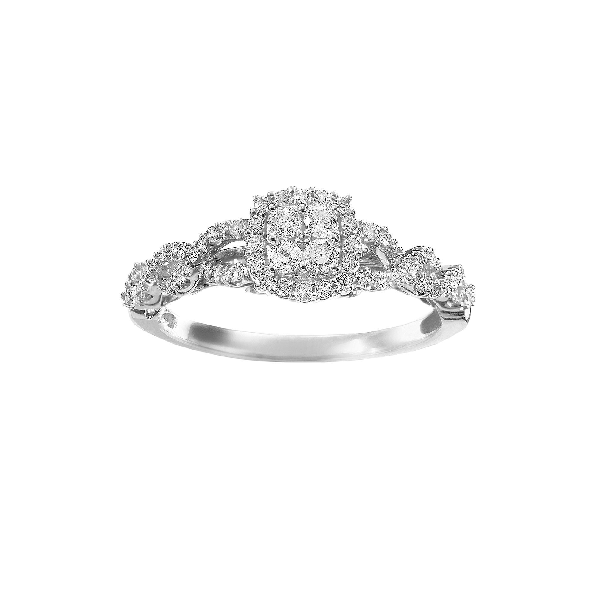 Simply Vera Vera Wang Diamond Twist Frame Engagement Ring In 14K Throughout Most Recently Released Oval Diamond Double Frame Twist Vintage Style Bridal Rings In 14K White Gold (View 12 of 15)