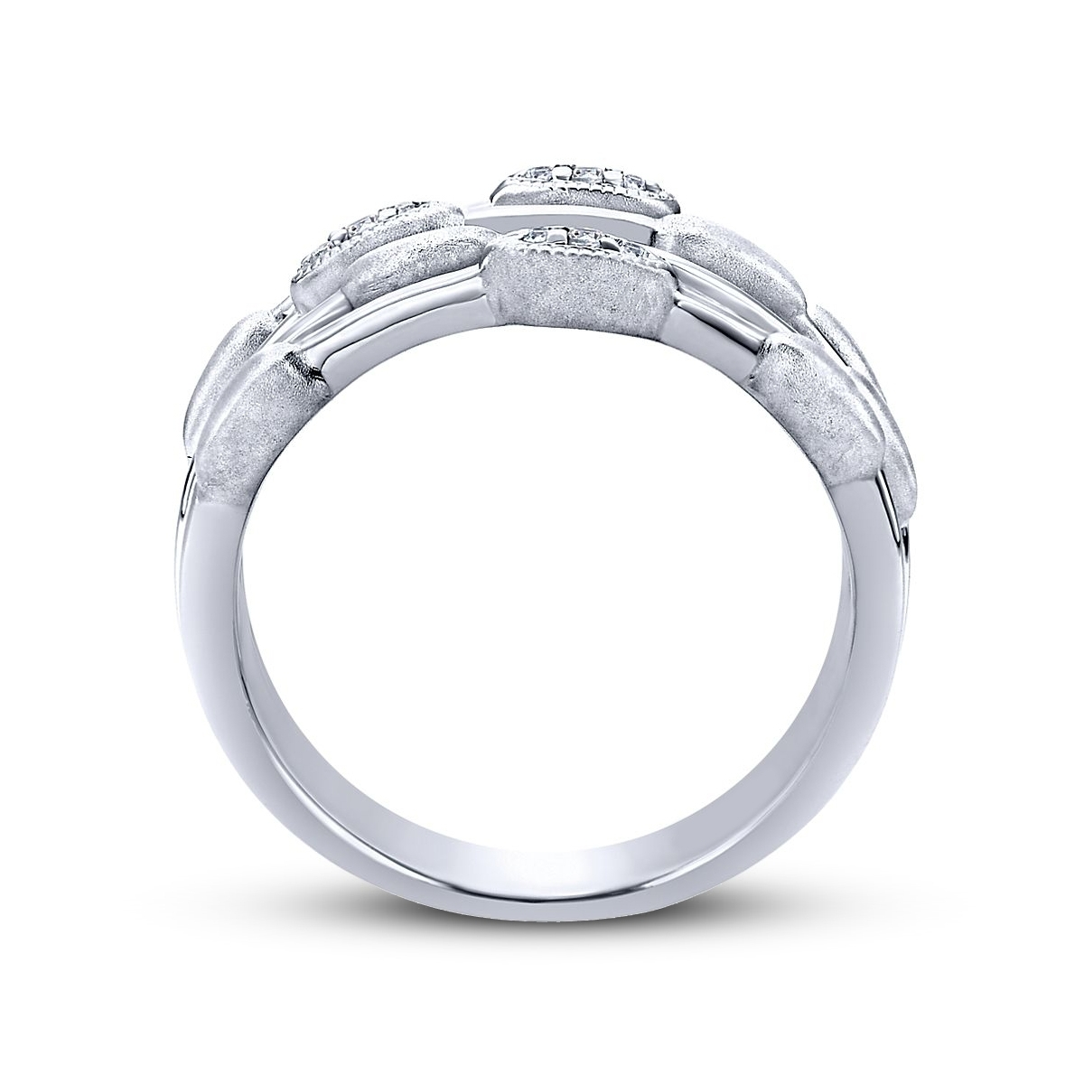 Sterling Four Row Diamond Accent Band | Friedman's Jewelers Intended For Most Current Diamond Four Row Anniversary Bands In Sterling Silver (Gallery 5 of 15)