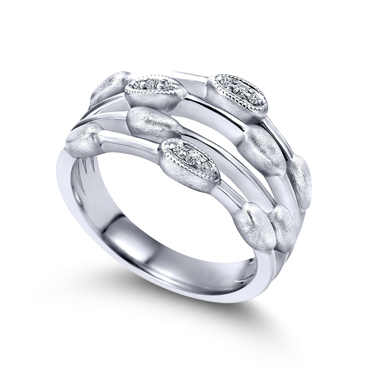 Sterling Four Row Diamond Accent Band | Friedman's Jewelers With Best And Newest Diamond Four Row Anniversary Bands In Sterling Silver (View 3 of 15)