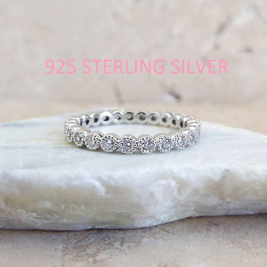 Sterling Silver 2 Mm Milgrain Bezel Full Eternity Band Cz Rhodium Inside Most Recent Diamond Wedding Bands In Sterling Silver With Rose Rhodium (Gallery 14 of 15)