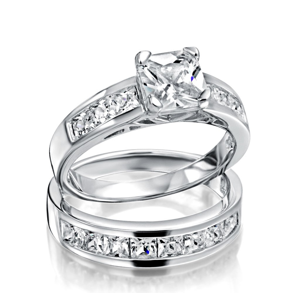 Sterling Silver 2ct Cz Princess Cut Engagement Wedding Ring Set For Current Diamond Anniversary Bands In Sterling Silver (View 6 of 15)