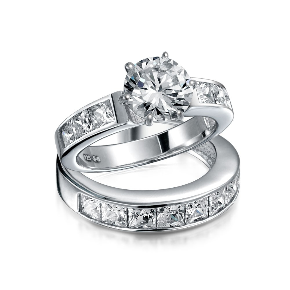 Sterling Silver 2Ct Round Cz Princess Engagement Wedding Ring Set Intended For Newest Diamond Anniversary Bands In Sterling Silver (Gallery 3 of 15)