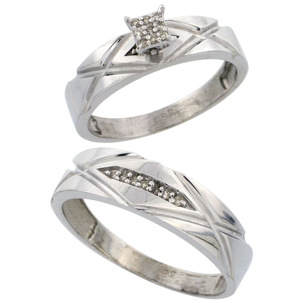 Sterling Silver Jewelry Diamond Rings His & Hers Ring Sets Intended For Best And Newest Diamond Wedding Bands In Sterling Silver With Yellow Rhodium (View 8 of 15)