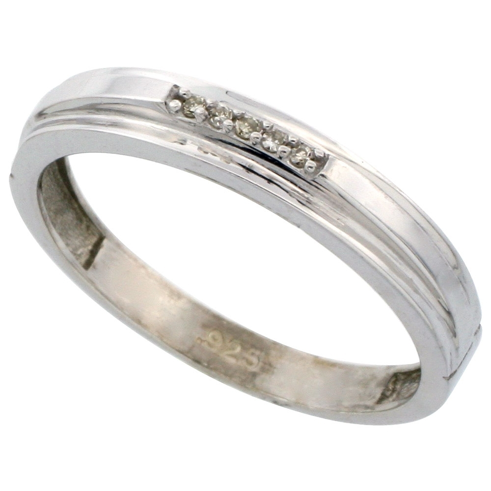 Sterling Silver Jewelry Diamond Rings Men's Bands With Latest Diamond Wedding Bands In Sterling Silver With Yellow Rhodium (View 14 of 15)