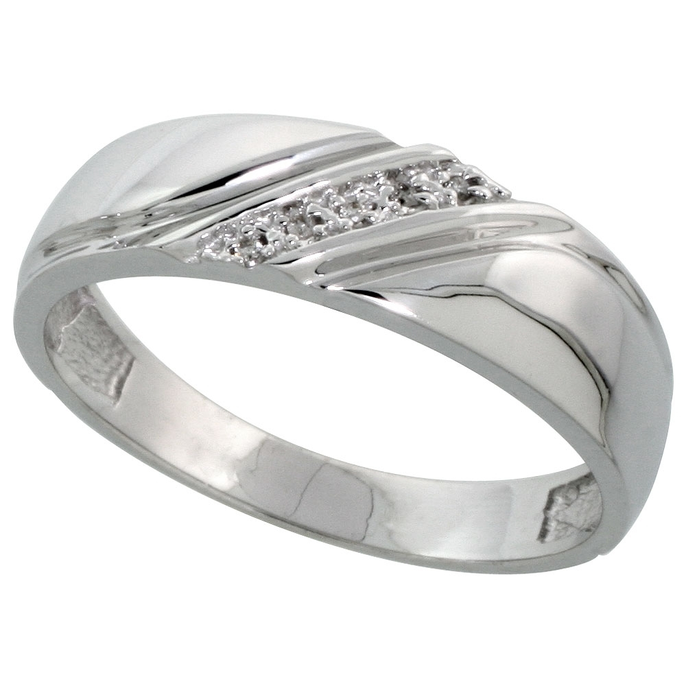 Sterling Silver Men's Diamond Wedding Band Rhodium Finish, 1/4 Inch Pertaining To Most Popular Diamond Anniversary Bands In Sterling Silver (Gallery 7 of 15)