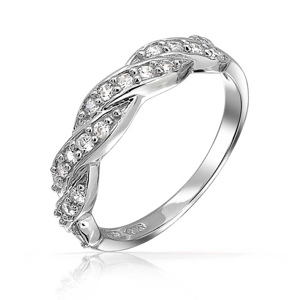 Sterling Silver Pave Cz Twist Infinity Band Ring Throughout Most Popular Diamond Twist Rings In Sterling Silver (View 14 of 15)