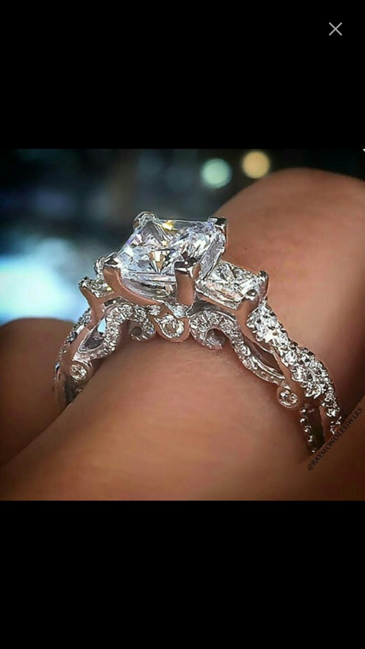 Stunning Engagement Ring With Princess Diamonds, Vintage Style Ring Intended For 2017 Diamond Vintage Style Rings (Gallery 14 of 15)