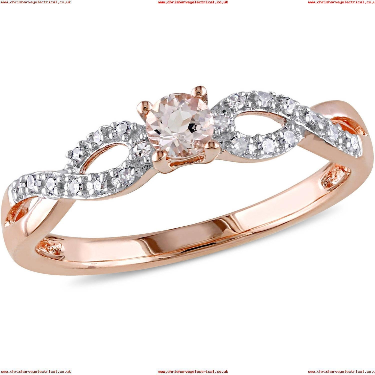 Tangelo 1/6 Carat T.g.w. Morganite And Diamond Accent Rose Rhodium Within Most Up To Date Diamond Wedding Bands In Sterling Silver With Rose Rhodium (Gallery 15 of 15)
