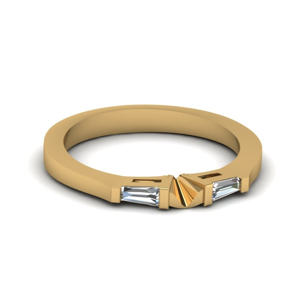 Tapered Baguette Diamond Womens Wedding Band In 14K Yellow Gold For Recent Diamond Tapered Wedding Bands (View 6 of 15)