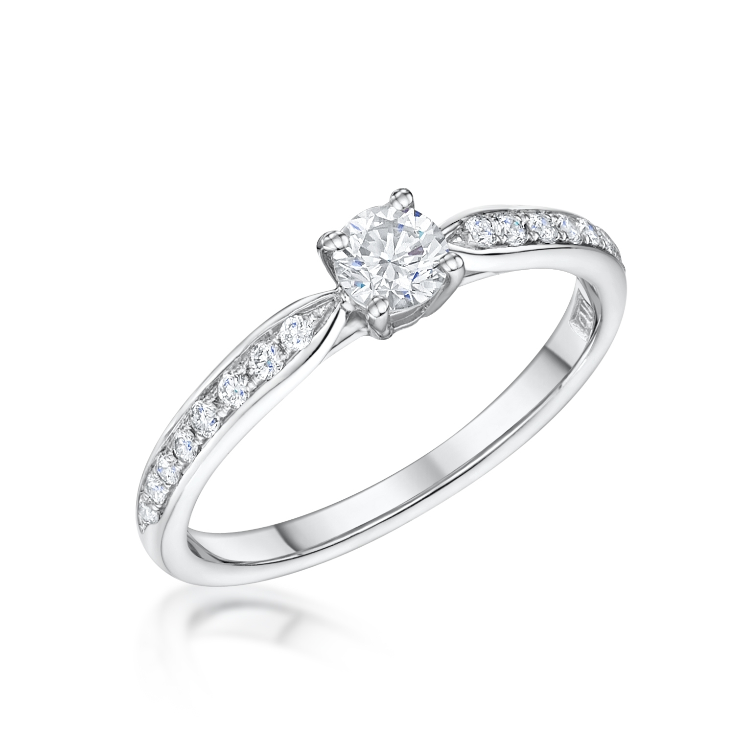 Tapered Diamond Solitaire With Pave Shoulders With Regard To Newest Diamond Tapered Wedding Bands (View 11 of 15)