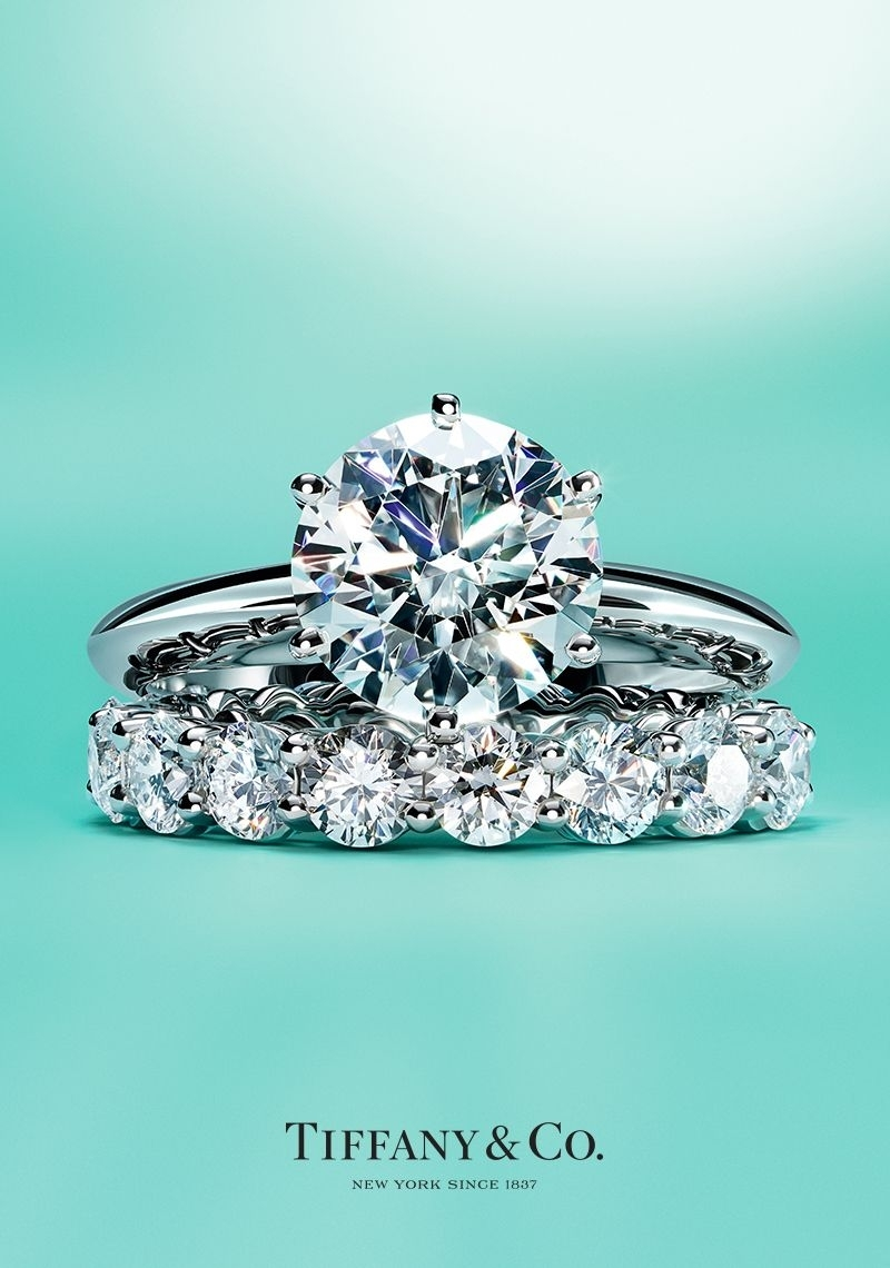 The Tiffany® Setting Engagement Ring And Tiffany Embrace® Band Ring In Most Current Tiffanys Wedding Bands (View 8 of 15)