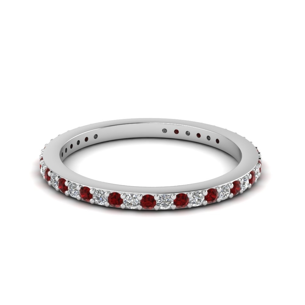 Thin Diamond Stackable Eternity Band With Ruby In 950 Platinum Within Current Ruby And Diamond Eternity Bands In Platinum (View 15 of 15)