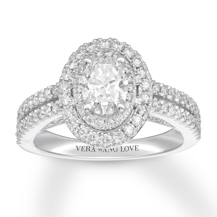 This Elegant Engagement Ring From The Vera Wang Love Collection With Current Oval Diamond Double Frame Twist Vintage Style Bridal Rings In 14K White Gold (View 13 of 15)