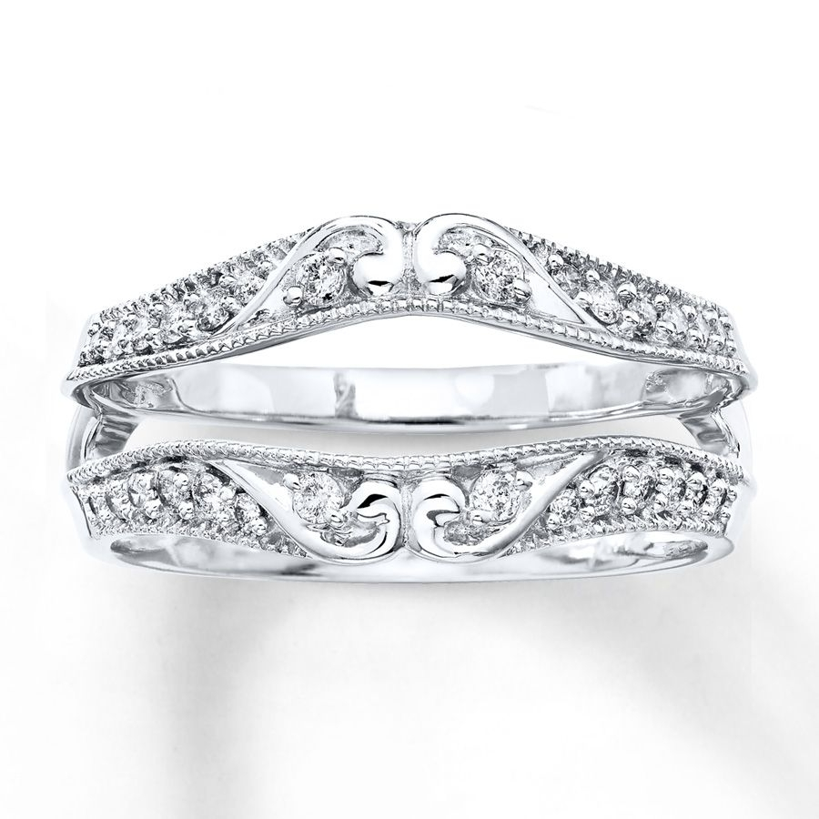 This Glorious Enhancer Ring Features Tendrils Of 14K White Gold With Regard To Newest Diamond Contour Solitaire Enhancers In 14K White Gold (View 10 of 15)