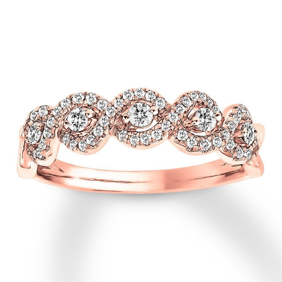 This Gorgeous Anniversary Band For Her Displays Five Round Diamonds Pertaining To Most Recent Diamond Twist Anniversary Bands In 10K Rose Gold (View 14 of 15)