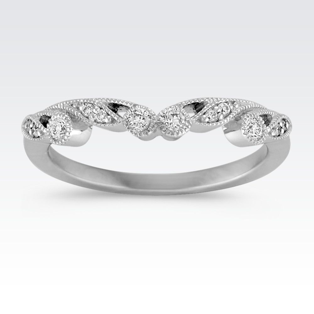 This Stylish Vintage Inspired Wedding Band Is Crafted In Quality 14 With 2017 Diamond Alternating Vintage Style Eternity Wedding Bands In 10K White Gold (View 12 of 15)