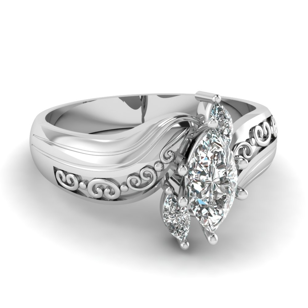 Featured Photo of Marquise And Princess Cut Composite Diamond Six Stone Anniversary Bands