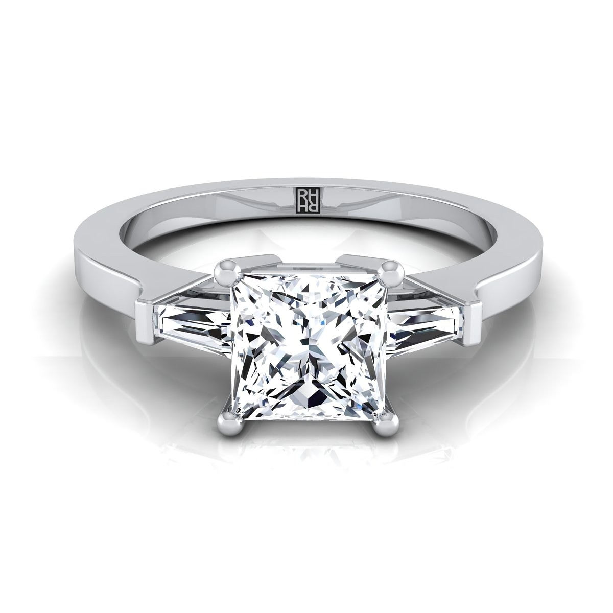 Three Stone Princess Diamond Tapered Baguette Engagement Ring With Regard To Best And Newest Diamond Tapered Wedding Bands (View 14 of 15)