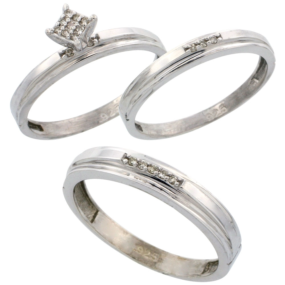Trio Ring Sets In Best And Newest Diamond Wedding Bands In Sterling Silver With Yellow Rhodium (Gallery 4 of 15)