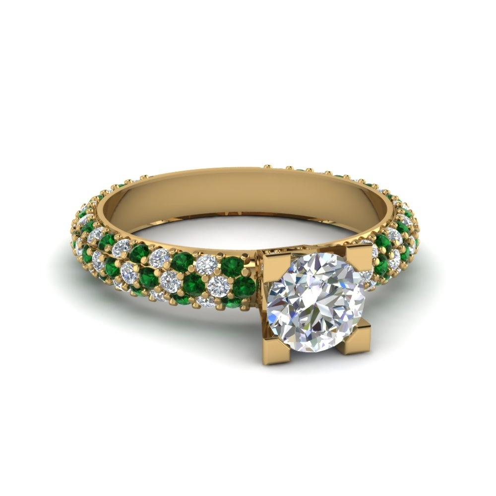 Triple Row Pave Set Diamond Engagement Ring With Emerald In 14K In 2017 Emerald And Diamond Three Row Reversible Anniversary Bands In 14K Gold (Gallery 1 of 15)