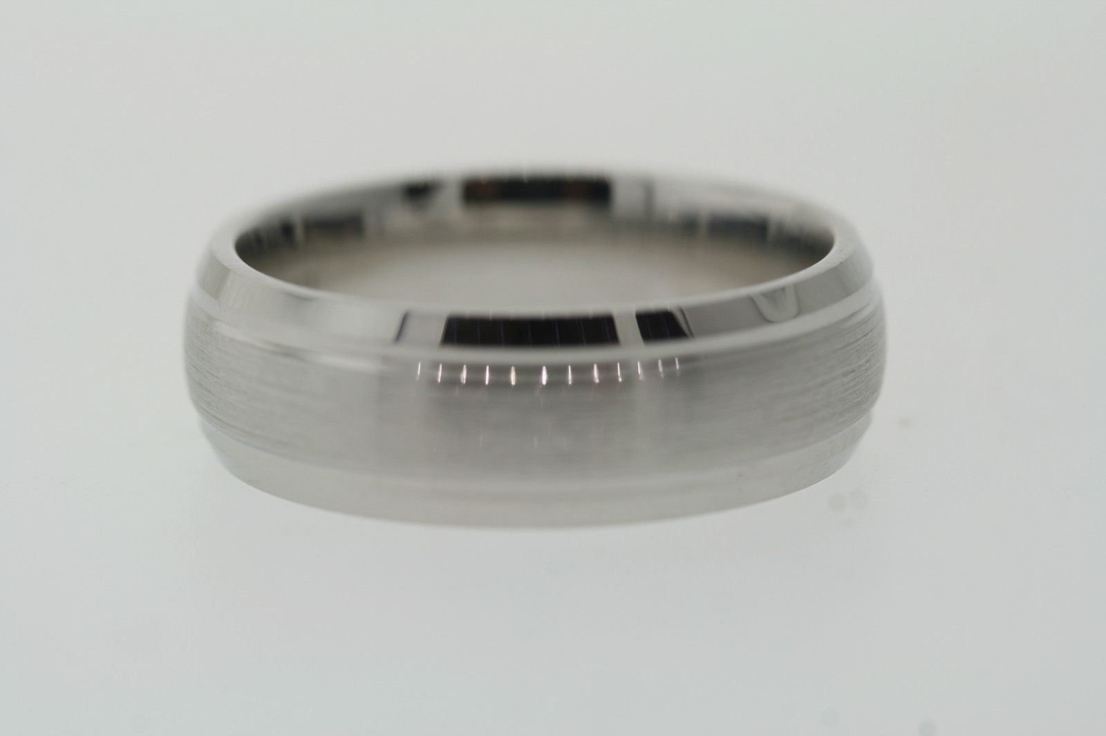 Triton Cobalt 7.5Mm Grooved Beveled Edge Satin Center Comfort Fit Within Current Satin Center Grooved Edge Wedding Band In Cobalt (Gallery 4 of 15)