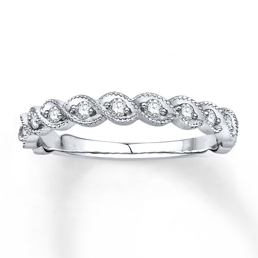 Twinkling Round Diamonds, Each Framed In Entwined Waves Of Milgrain Pertaining To Current Diamond And Milgrain Anniversary Bands In 10K White Gold (View 14 of 15)