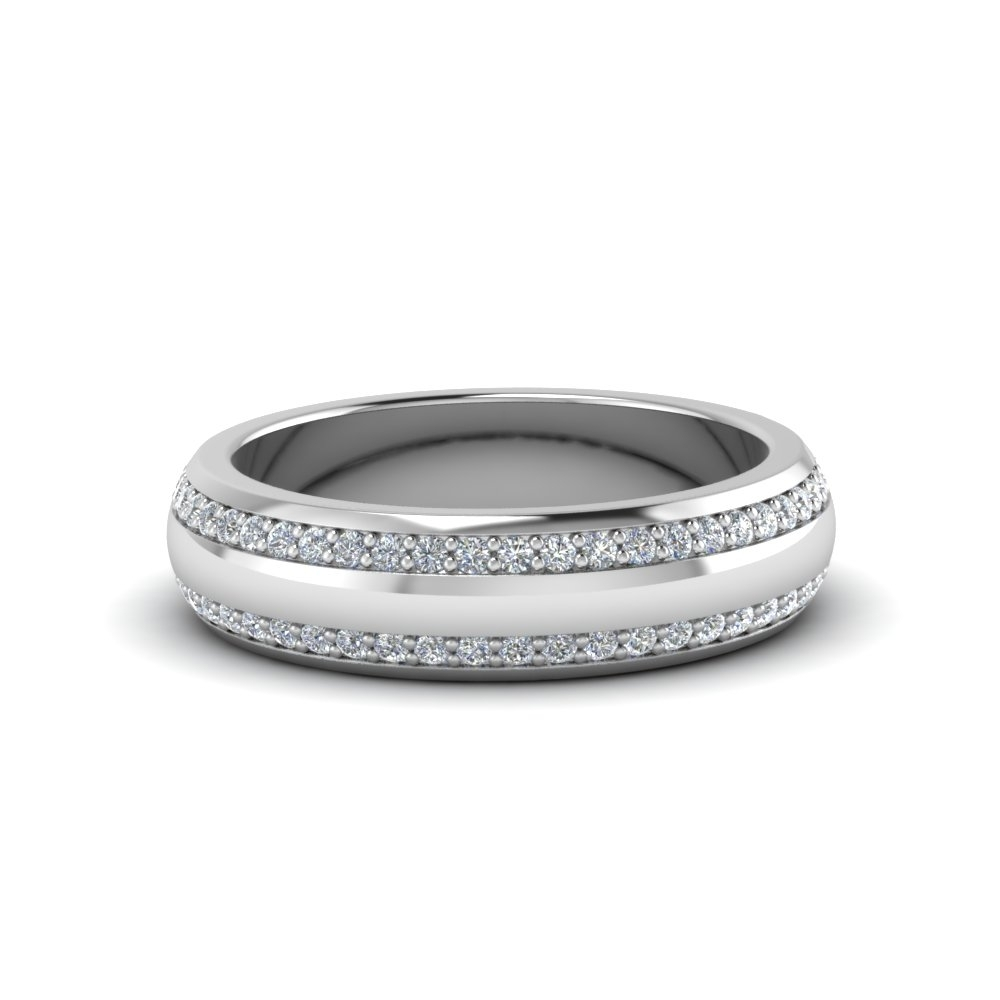 Two Row Male Diamond Eternity Band In 14K White Gold | Fascinating For 2018 Diamond Double Row Anniversary Bands In 14K White Gold (View 9 of 15)