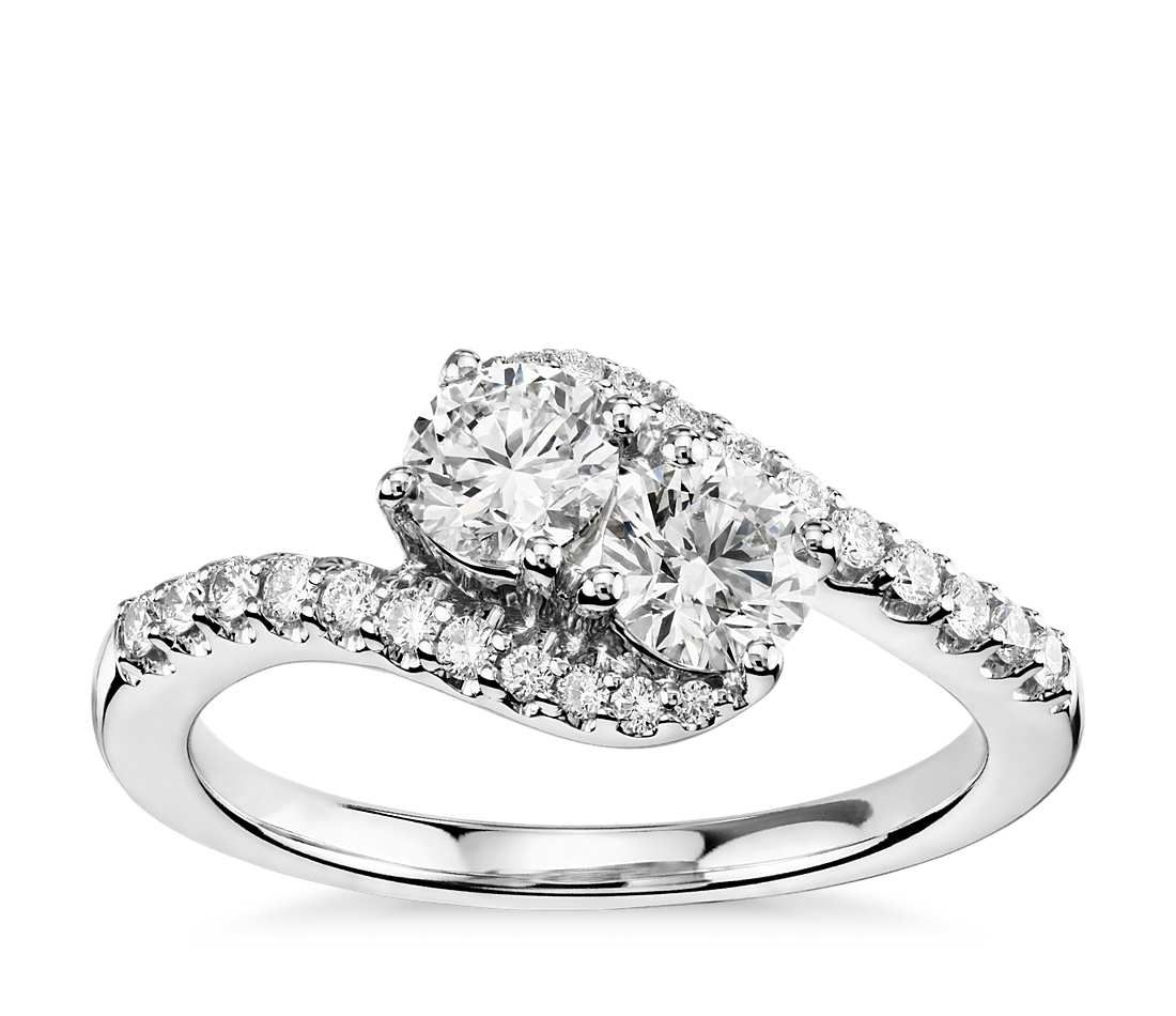 Two Stone Diamond Ring In 14K White Gold (1 Ct. Tw (View 14 of 15)