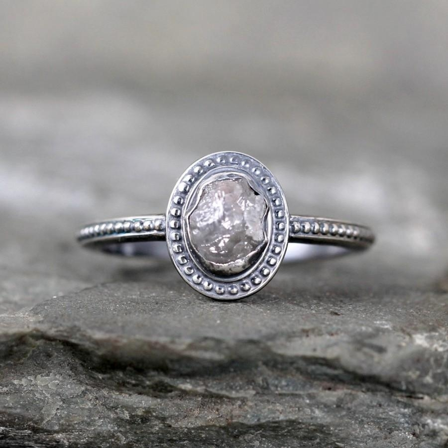 Uncut Diamond Ring – Raw Rough Diamond Engagement Rings – Sterling Throughout Recent Diamond Vintage Style Engagement Rings (View 13 of 15)