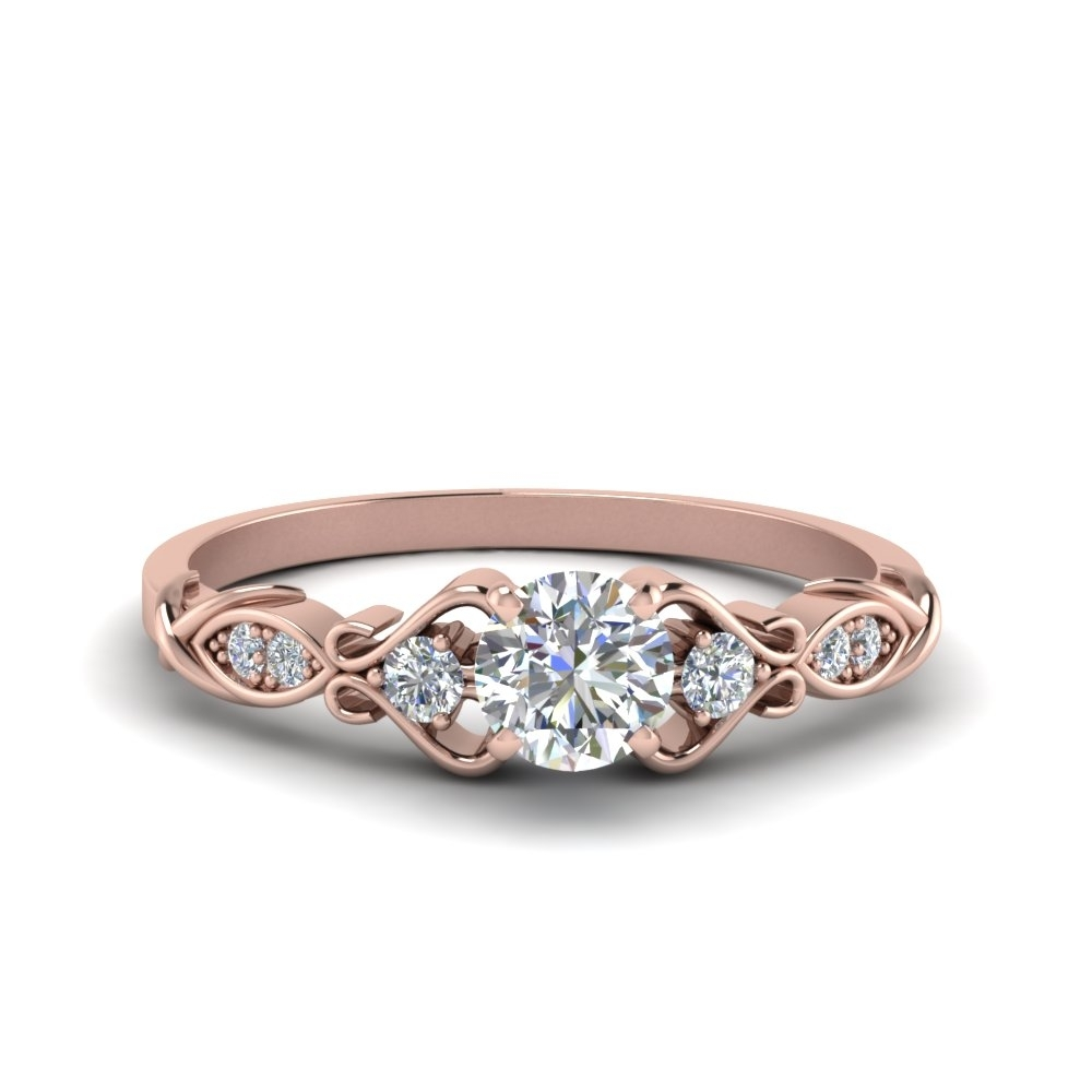 Victorian Style Round Cut Diamond Wedding Engagement Ring In 14K Inside Most Up To Date Vintage Style Rose Gold Engagement Rings (View 2 of 15)
