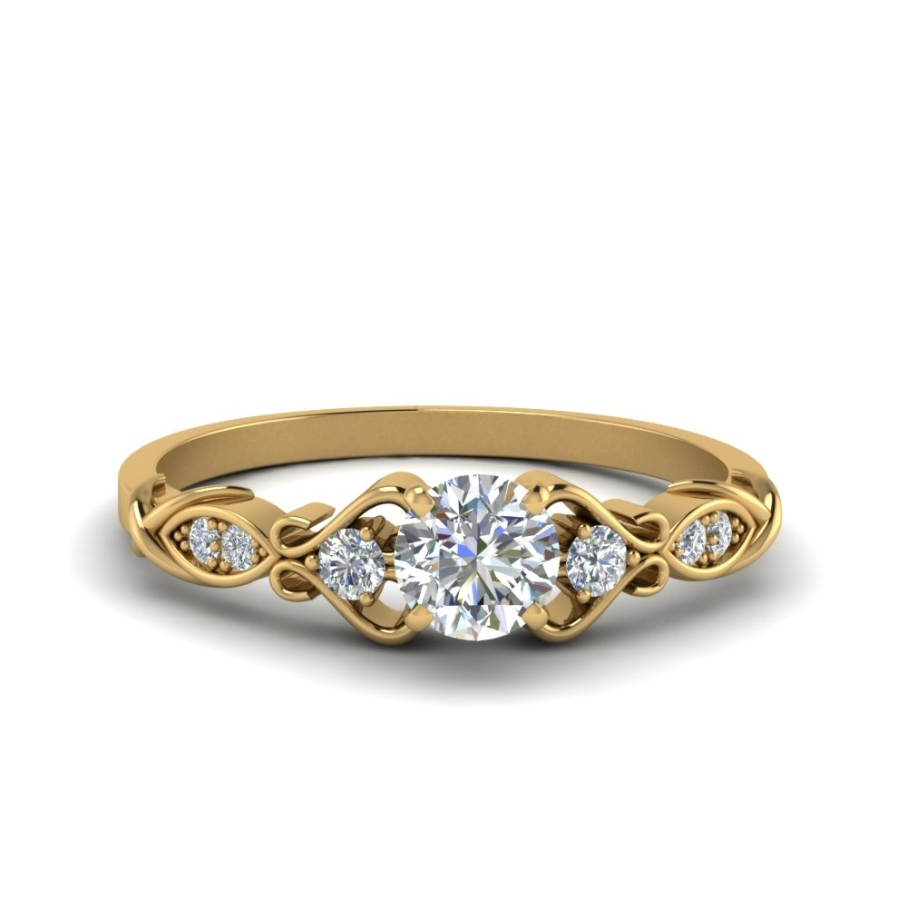 Victorian Style Round Cut Diamond Wedding Engagement Ring In 14K Within Best And Newest Vintage Style Gold Engagement Rings (Gallery 2 of 15)
