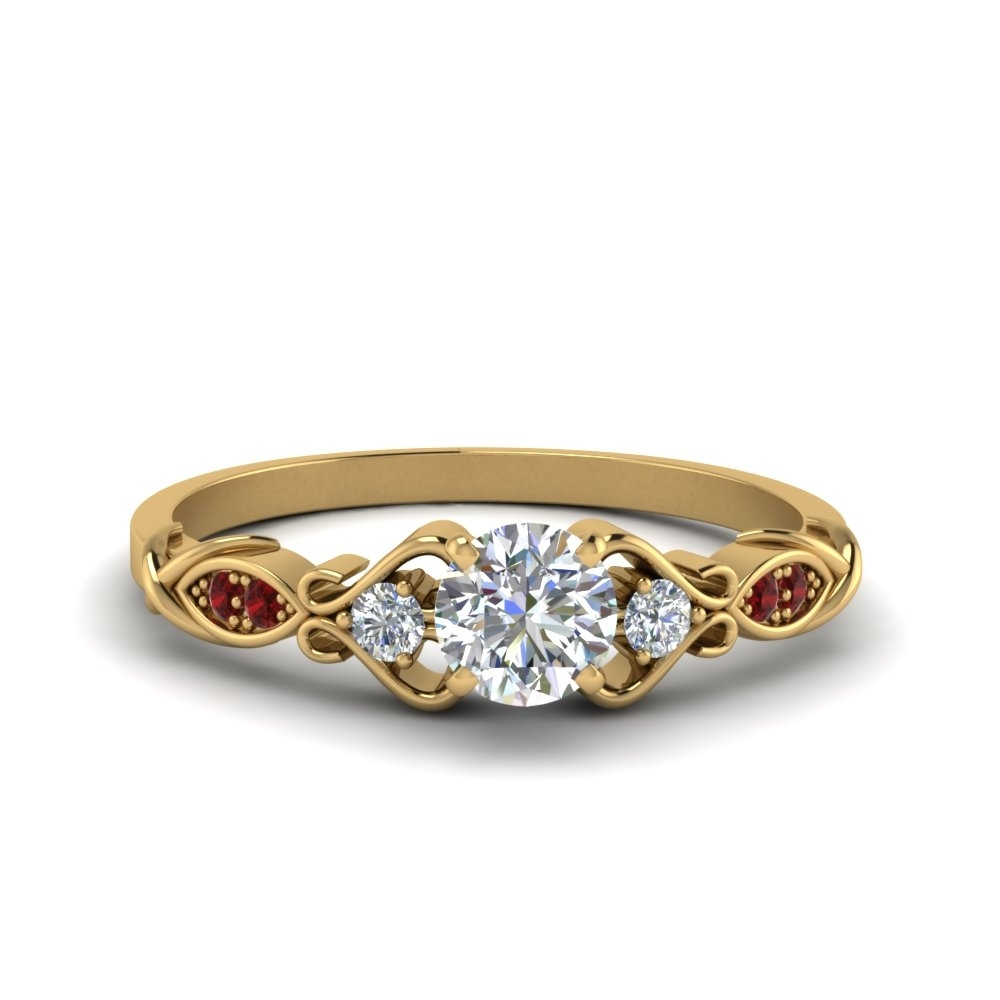 Victorian Style Round Cut Diamond Wedding Engagement Ring With Ruby Pertaining To Best And Newest Vintage Style Yellow Gold Engagement Rings (View 11 of 15)
