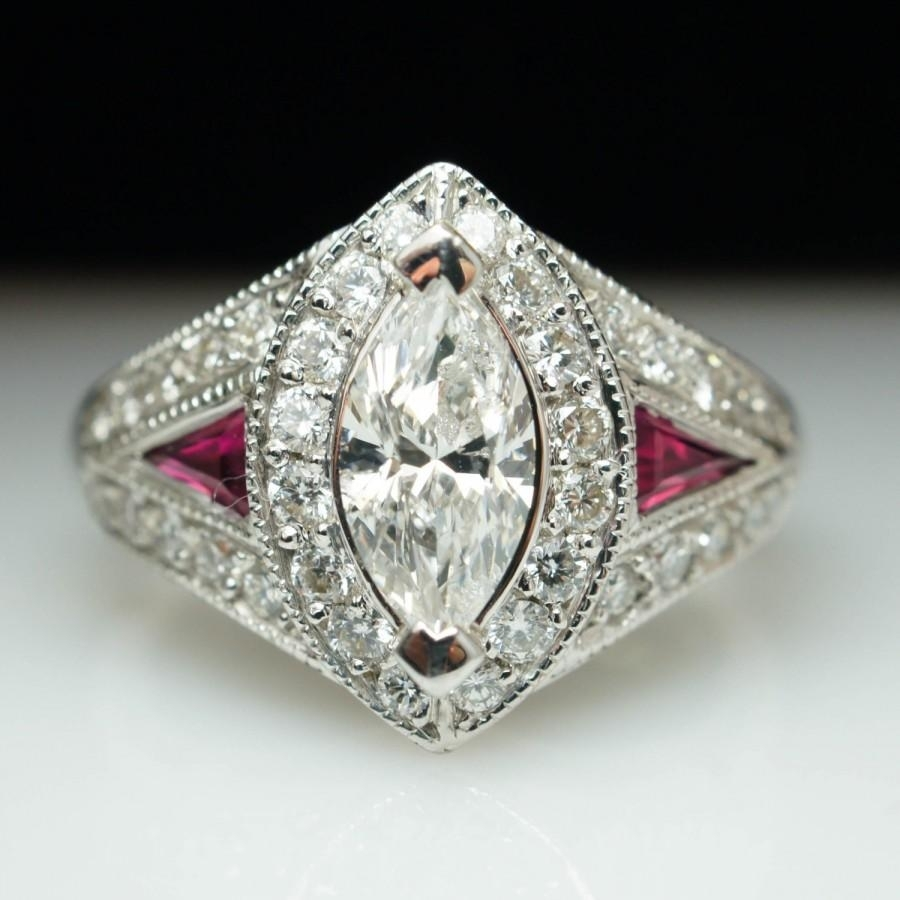Vintage 2.40Ctw Marquise Cut Diamond & Ruby Engagement Ring Marquise With Best And Newest Antique Style Diamond Engagement Rings (Gallery 10 of 15)